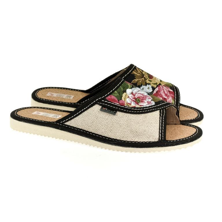 Dámske čierne papuče KVETKA