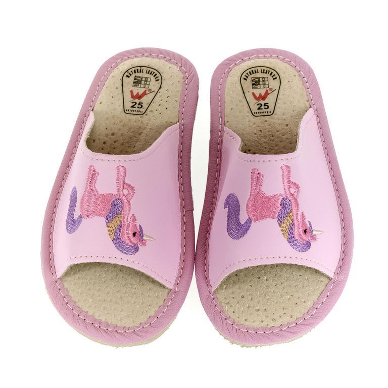 Detské kožené ružové papuče jednorožec KYARA 25-34