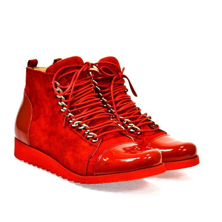 Dámske kožené červené topánky MISCHELL