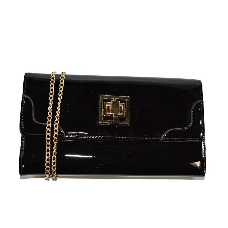 Dámska čierna lakovaná kabelka ODIANA
