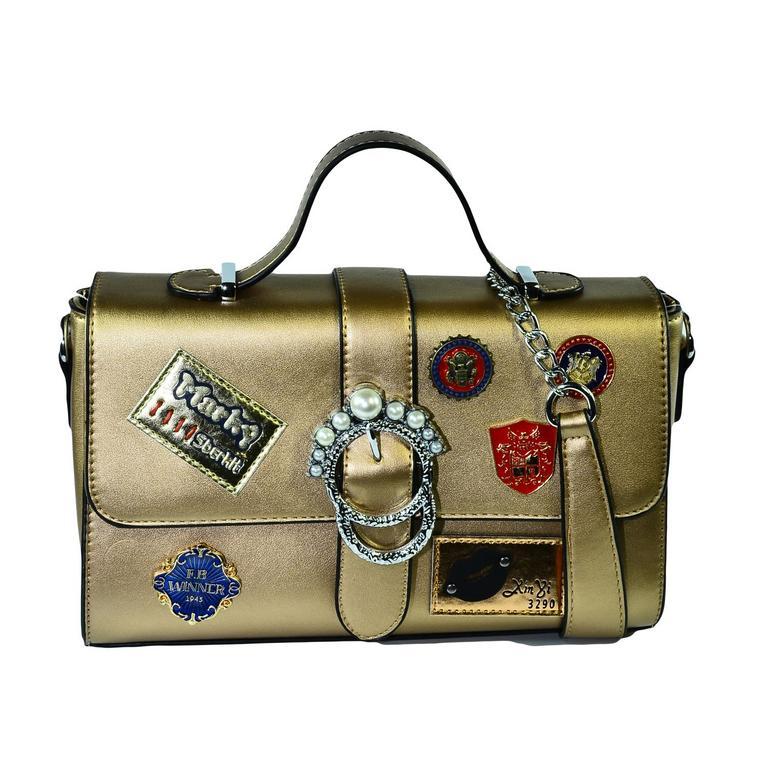 Dámska zlato-ružová kabelka VIERNA