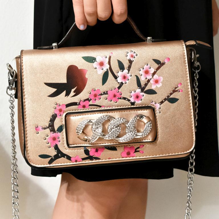 Dámska zlato-ružová kabelka VIARNA